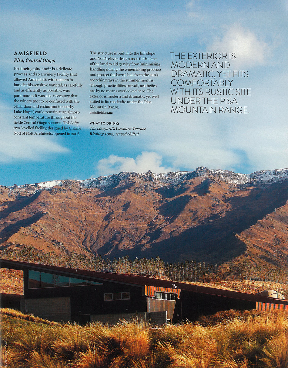 Amisfield features in NZ's best looking wineries.